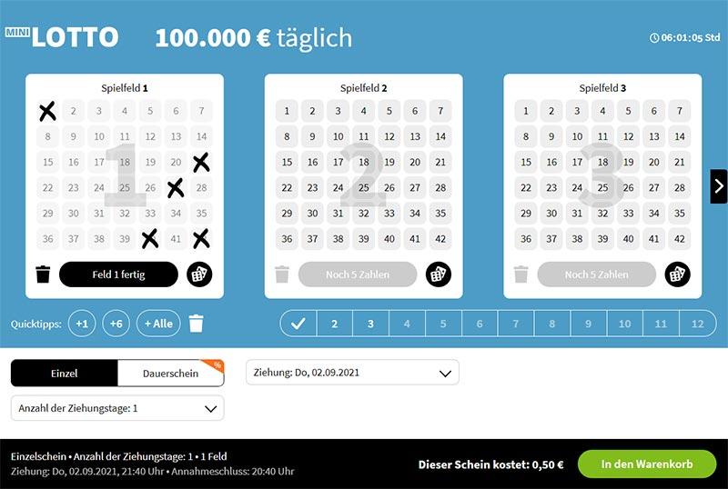 Mini Lotto Spielschein bei Lottohelden