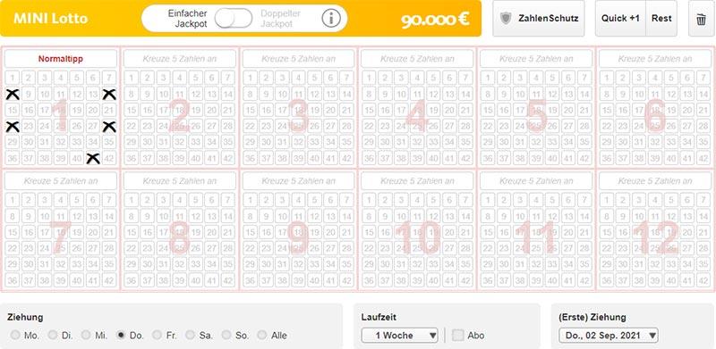 Mini Lotto Spielschein bei Lottoland