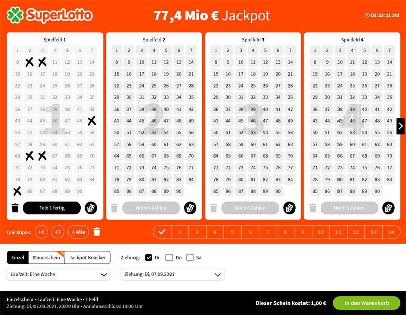 SuperLotto Spielschein LottoheldenSuperlotto Spielschein Lottohelden